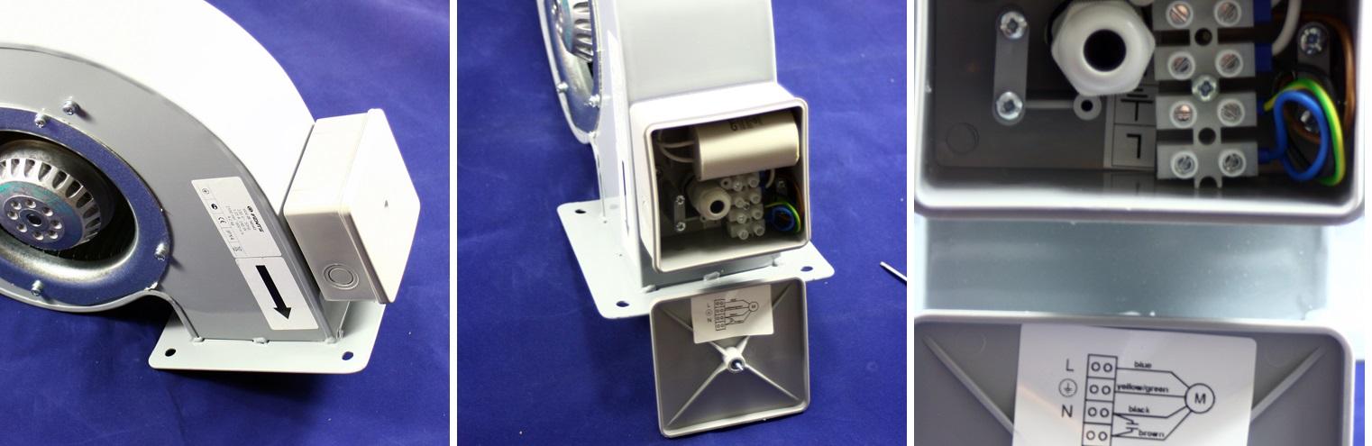 Anschluss des Schneckenluftes Ventilators Dalap SKT 180x92